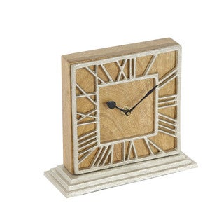 Benzara Brown and White Wood and Aluminum New Traditional Clock