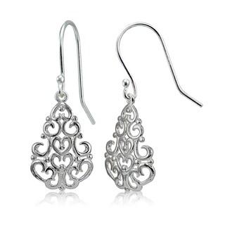 Mondevio Sterling Silver High Polished Chandelier Filigree Dangle Earrings
