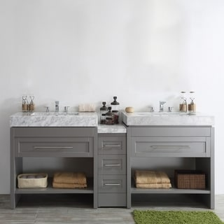 "Bolzana 84"" Double Vanity in Grey with Carrara White Marble Top without Mirror"