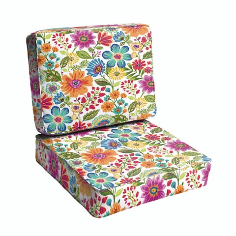 Galliford Multi Floral Indoor/ Outdoor Corded Chair Cushion Set