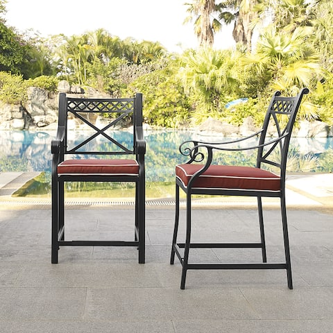 Palermo Black Cast Aluminum Bar Height Stools with Sangria Cushions (Set of 2)