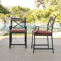 Portofino Black Cast Aluminum Bar Height Stools with Sangria Cushions (Set of 2)