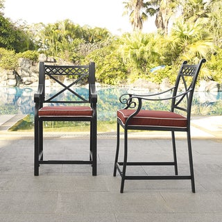 Portofino Black Cast Aluminum Bar Height Stools with Sangria Cushions (Set of 2)