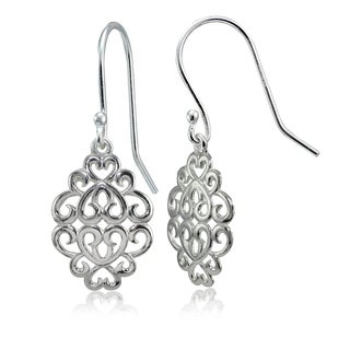 Mondevio Sterling Silver High Polished Filigree Dangle Earrings