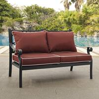Portofino Cast Aluminum Love Seat in Charcoal Black Finish with Sangria Cushions