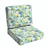 Perryn Green/ Blue Floral Indoor/ Outdoor Corded Chair Cushion Set