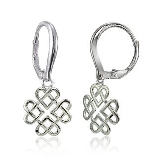 Mondevio Sterling Silver High Polished Cletic Love Knot Leverback Earrings (Option: Pink)
