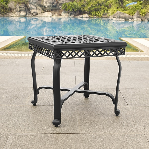 Palermo Charcoal Black Finish Cast Aluminum End Table