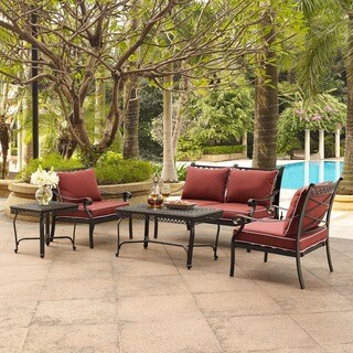 Portofino Cast Aluminum 5 Piece Conversation Set with Sangria Cushions -- Loveseat, 2 Arm Chairs, Coffee Table, and End Table