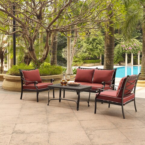 Portofino Cast Aluminum 4 Piece Conversation Set with Sangria Cushions -- Loveseat, 2 Arm Chairs, Coffee Table
