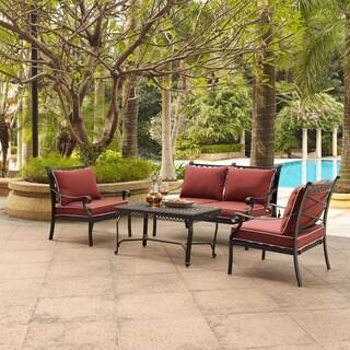Portofino Cast Aluminum 4 Piece Conversation Set with Sangria Cushions -- Loveseat, 2 Arm Chairs, Coffee Table