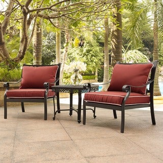 Portofino Cast Aluminum 3 Piece Conversation Set with Sangria Cushions -- 2 Arm Chairs and End Table