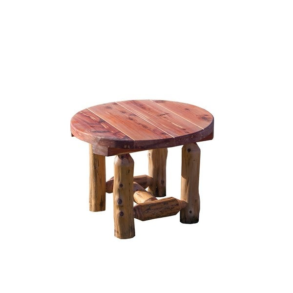 Superior Rustic Red Cedar Log Outdoor Round Side Table   Amish Made