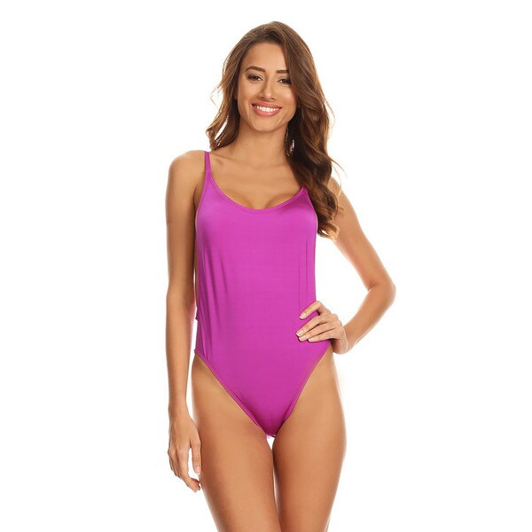 5329e5a2d4b7b Shop Famous Maker Women s Purple Nylon High-cut 1-piece Swimsuit - On Sale  - Free Shipping On Orders Over  45 - Overstock - 15029698