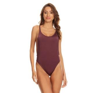 Famous Maker Purple Mauve Women's High-Cut Vintage One-Piece Swimsuit