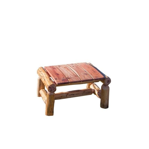 Shop Rustic Outdoor Red Cedar Log Ottoman Foot Stool
