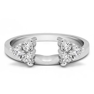 10k White Gold Three Stone Ring Wrap Enhancer With Cubic Zirconia (0.99 Cts.)