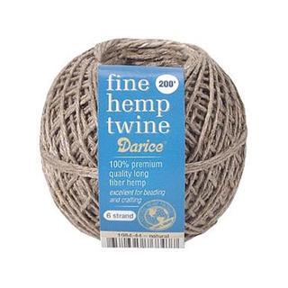 Darice Natural Fine Hemp Twine 6-strand 200-foot Cord