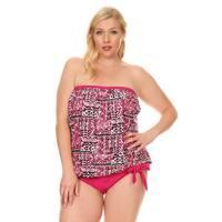 d3d2d1eb41 Famous Maker Women's Pink Nylon and Spandex Plus Size Ethnic Blouson Tie  Tankini