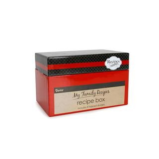 Darice Recipe Card Box Cutlery Black and Red