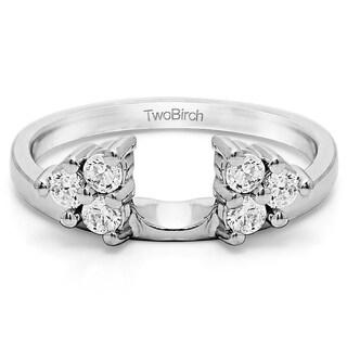10k White Gold Three Stone Ring Wrap Enhancer With Diamonds (G-H,I2-I3) (0.12 Cts., G-H, I2-I3)