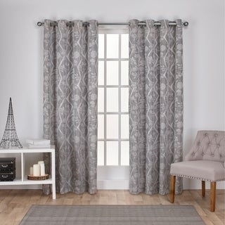 ATI Home Lamont Branch and Vine Textured Linen Jacquard Grommet Top Window Curtain Panel Pair