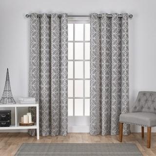 ATI Home Cressy Geometric Textured Linen Jacquard Grommet Top Window Curtain Panel Pair