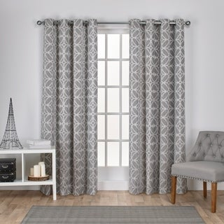 ATI Home Cressy Jacquard Grommet Top Curtain Panel Pair