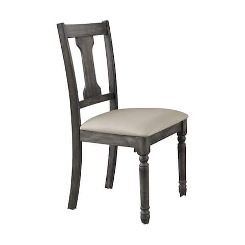 Acme Furniture Wallace Grey Linen and Weathered Blue Washed Finished Side Chair (Set of 2)