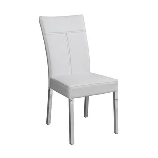 acme furniture ezra chromewhite pu dining chairs set of 4 - Dining Chairs Set Of 4