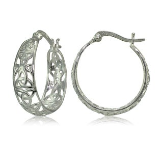 Link to Mondevio Sterling Silver High Polished Celtic Knot Filigree Hoop Earrings Similar Items in Earrings