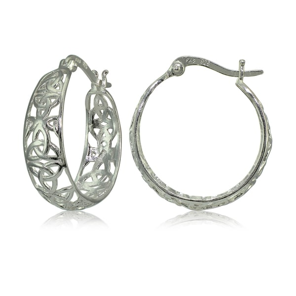 Mondevio Sterling Silver High Polished Celtic Knot Filigree Hoop Earrings. Opens flyout.
