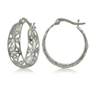 Mondevio Sterling Silver High Polished Celtic Knot Filigree Hoop Earrings