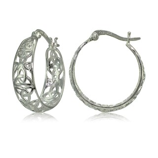 Mondevio Sterling Silver High Polished Cletic Knot Filigree Hoop Earrings