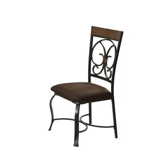 Acme Furniture Jassi Brown Fabric and Black Metal Dining Chair (Set of 2)
