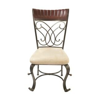 Acme Furniture Omari Cherry/Bronze/Cream MFB Dining Chairs (Set of 2)