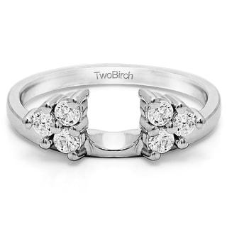 14k white gold three stone ring wrap enhancer with diamonds g hi2 i3 - Wedding Ring Jackets