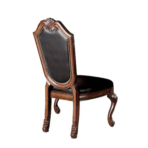 Acme Furniture Chateau De Ville Black PU and Cherry Chair (Set of 2)