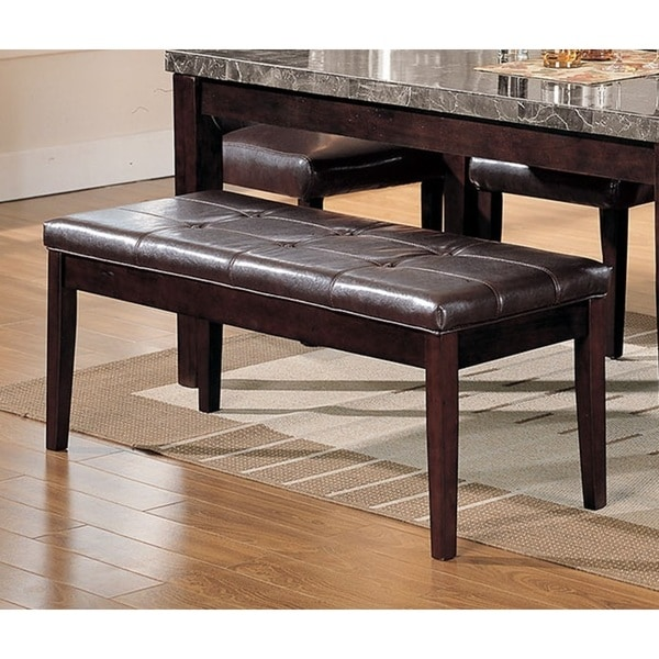Acme Furniture Danville Espresso Faux Leather Walnut Dining Bench Free Shipping Today 15030113
