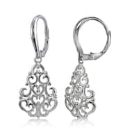 Mondevio Sterling Silver High Polished Chandelier Filigree Leverback Earrings
