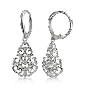 Mondevio Sterling Silver High Polished Chandelier Filigree Leverback Earrings (Option: Gold Plate - Pink)