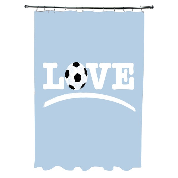 Love Soccer Word Print Shower Curtain