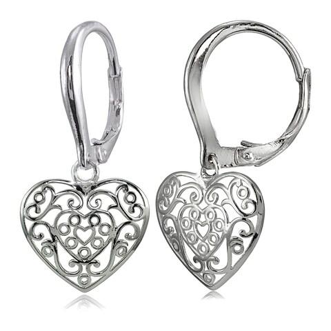 Mondevio Sterling Silver High Polished Heart Filigree Leverback Earrings