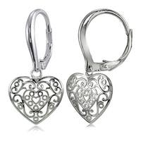 Mondevio Sterling Silver High Polished Heart Filigree Leverback Earrings