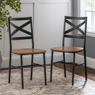 Set of 2 Metal X-Back Barnwood Dining Chairs