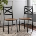 Metal X-Back Barnwood Dining Chair (Set of 2)