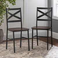 2 Metal X-Back Driftwood Dining Chairs - N/A