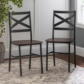 2 Metal X-Back Driftwood Dining Chairs