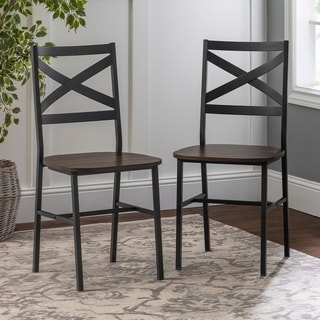 2 Metal X Back Driftwood Dining Chairs