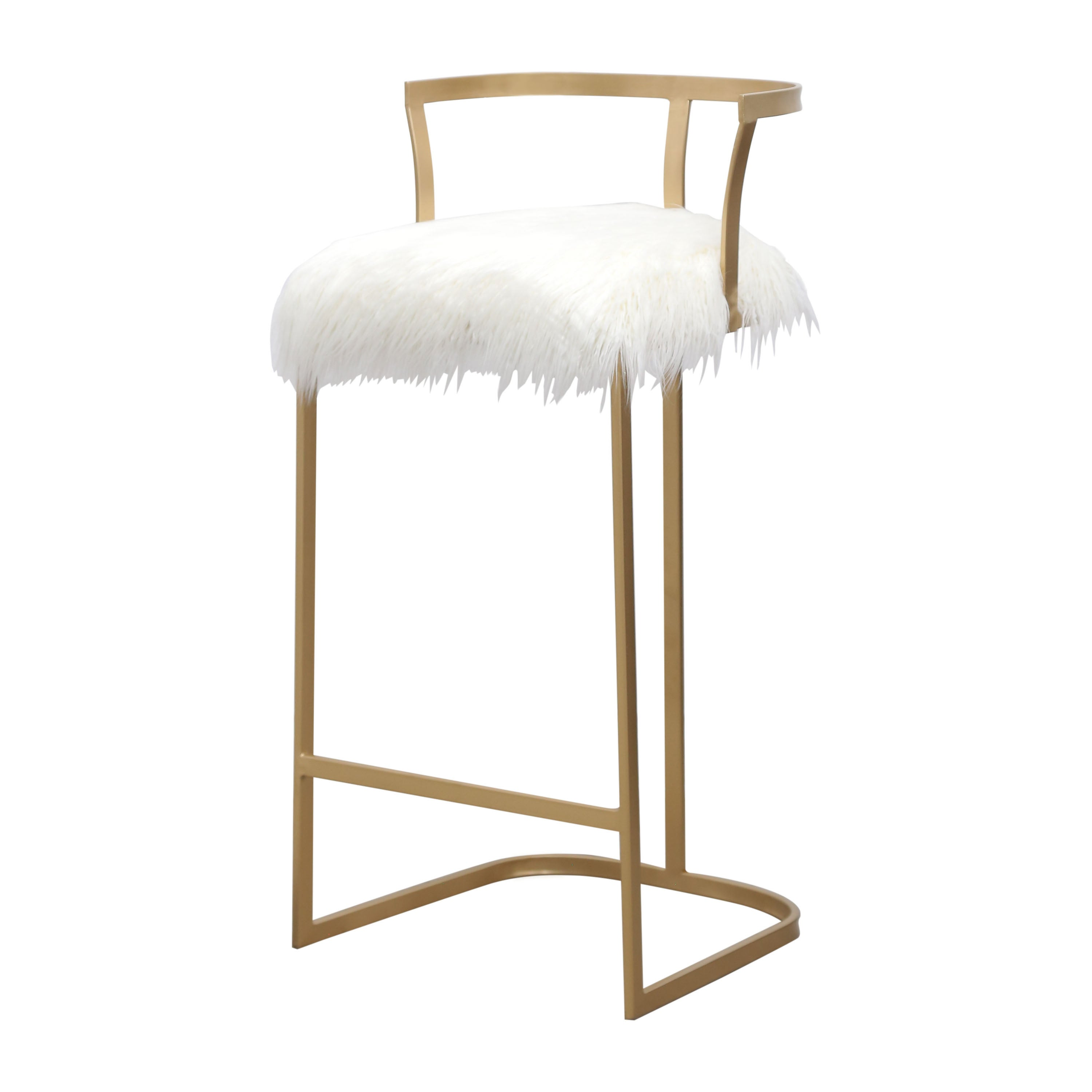 Image of: Shop Black Friday Deals On Abbyson Zoe Ivory Faux Fur 30 Inch Matte Gold Bar Stool Overstock 15030211